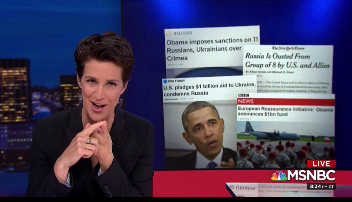 #Maddow says #Trump has moved to systemically dismantle each of the 4 pillars of USG response punishing #Russia for its invasion & annexation of #Crimea: 1) #Sanctions 2) Aid to #Ukraine 3) Ousting Russia from #G8 4) European #Deterrence Initiative EDI was defunded for the Wall