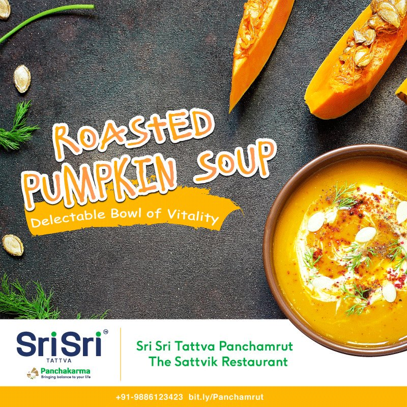 Pumpkin is a rich source of Vitamin A, Zeaxanthin, B-complex group of #vitamins, potassium, iron & other #micronutrients #Panchamrut packs a punch for a healthy you with roasted pumpkin soup and other tasty sattvic dishes. Book your table 📞9886123423