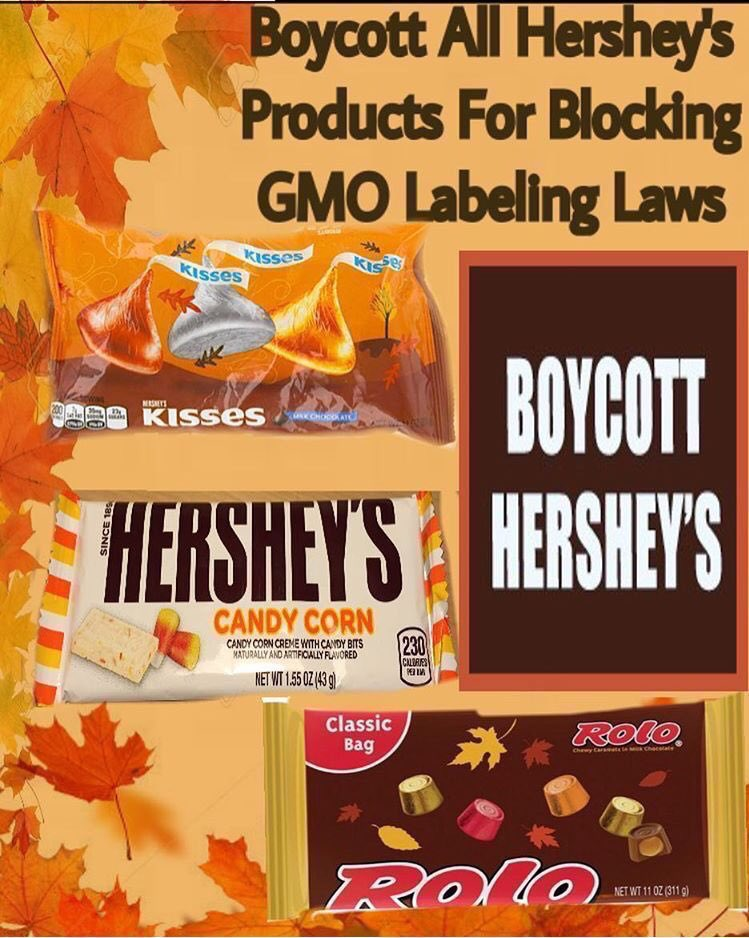 Tell @Hersheys to STOP peddling its toxic GMOs to your children. Boycott all #Hersheys products like #HersheysKisses for blocking mandatory GMO labeling laws. #ThursdayThoughts @muntel @Irenie_M @fedupwithpollys