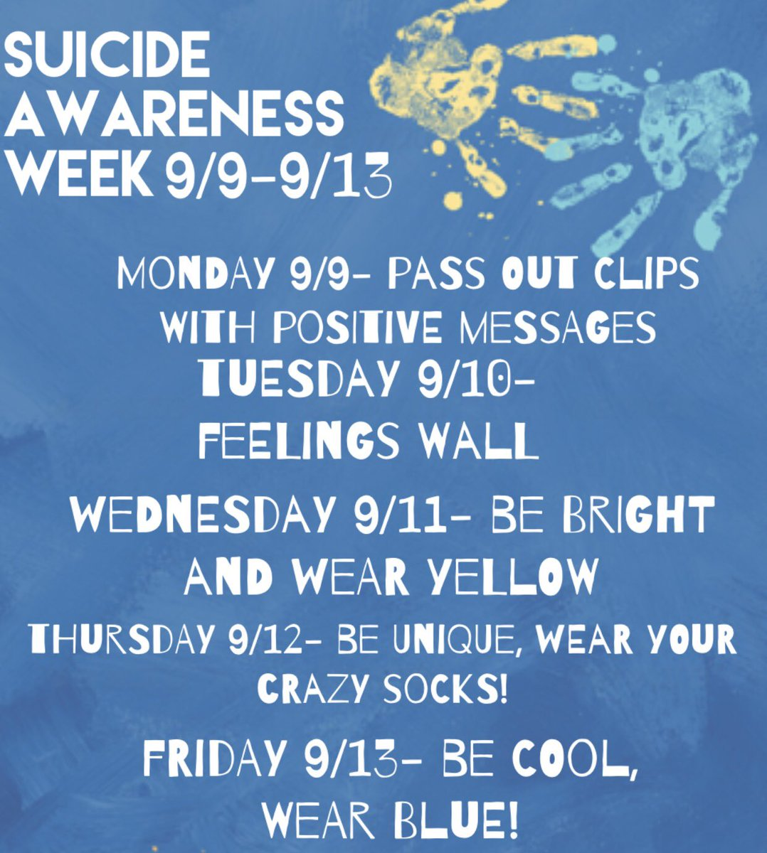 We 💛 our students ! Next week will be dressing up in honor of suicide awareness week . We want to show all our support and hope everyone participates , spread the word ! 💙 #mbybob https://t.co/K9Z3yljiQT