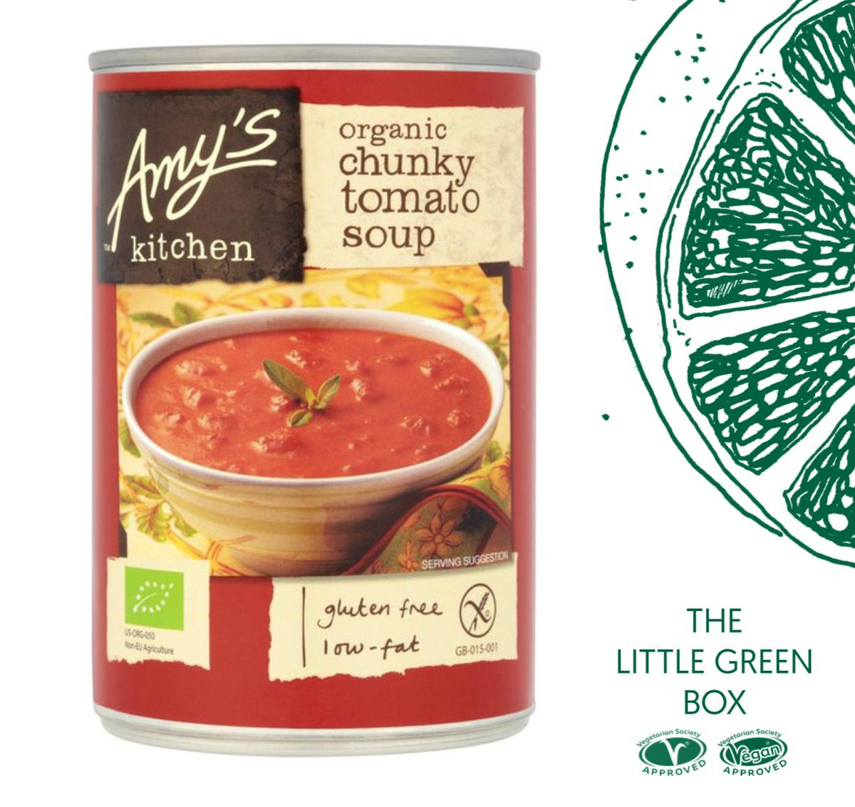 Our #LittleGreenBox is packed with tasty treats displaying our veggie and vegan trademarks. With only weeks to go until the first #FreshersFair here's a sneak peek of whats inside. First up @AmysKitchen chunky tomato soup. A perfect post-lecture snack! 🍅#EatToBeatClimateChange