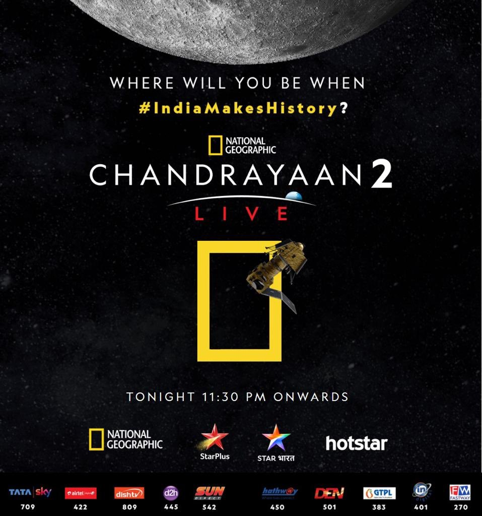 It would be an honour to witness our country making history. Waiting to watch #Chandrayaan2tonight on @hotstar. Great work @NatGeoIndia. #IndiaMakesHistory