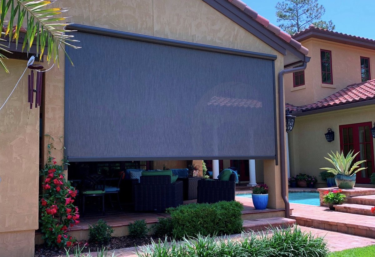 First Coast Shade On Twitter Installed Power Screen On This West Facing Lanai For Afternoon Sun Protection Clients Selected Expresso Nano 95 Fabric To Block Up To 95 Of The Sun S Rays