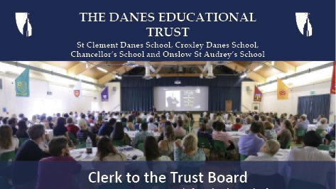 Great opportunity to work with Danes Educational Trust as Clerk to the Trust Board. Closing date Monday 16th September. https://t.co/kheF8NhgUt https://t.co/otqnnyq1Fs