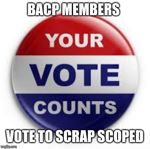 Just 4 days left for BACP members to vote on the #ScrapSCoPEd resolution! If you are concerned by the SCoPEd hierarchy, and want to see this controversial project voted on at AGM, please follow this link to vote and make your voice heard! http://mi-vote.com/bacp