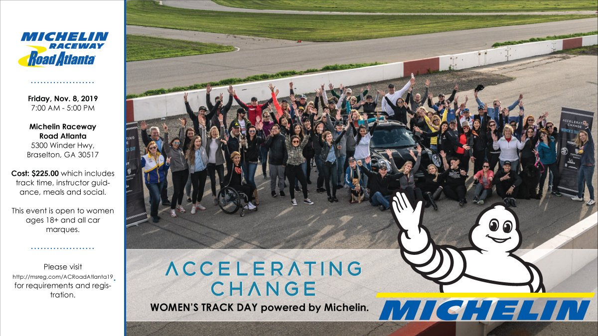 After a successful first @AcceleratingC event in California in March, the group led by @ChristinaRacing and Mariana Small will have another at @MichelinUSA Raceway @RoadAtlanta in November. More details here: michelinracingusa.com/accelerating-c… #WomenInDrive