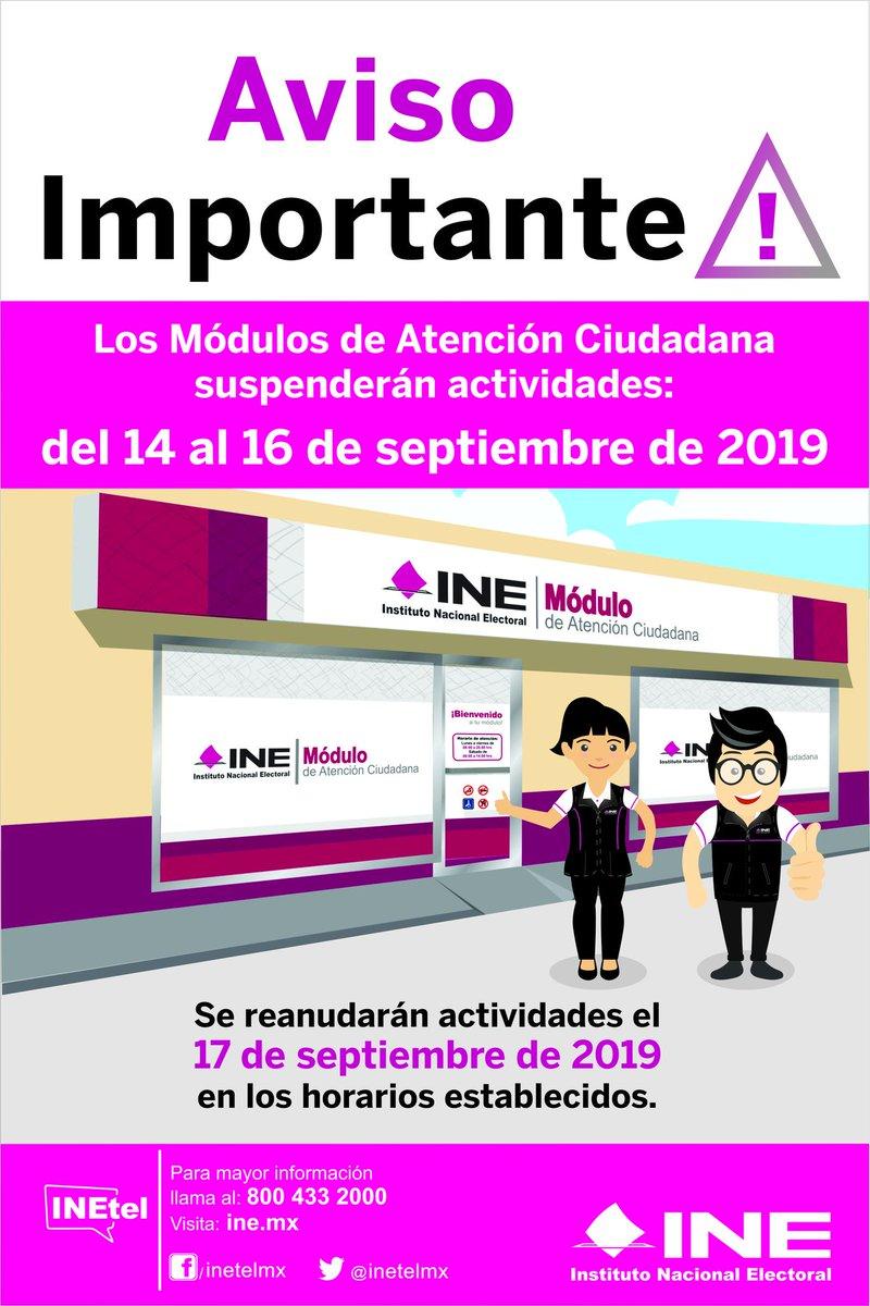Ine Chiapas On Twitter Atencion Los Módulos De