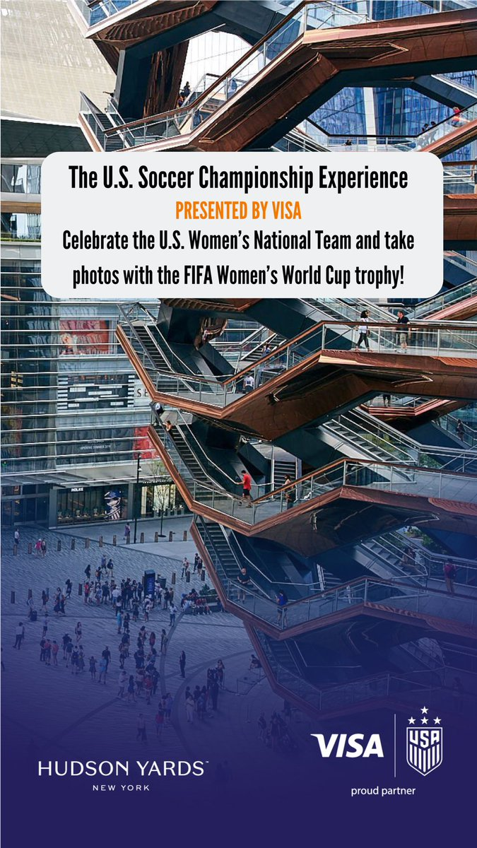 Stop by Hudson Yards tomorrow to celebrate the @USWNT and take photos with the @FIFAWWC trophy!