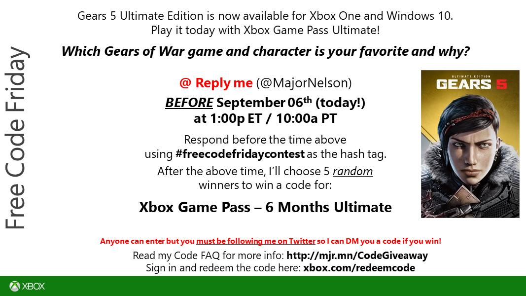 #freecodefridaycontest time. Read this and you could win a code for Xbox Game Pass Ultimate (6 Months) on Xbox One. Good luck. https://t.co/yT6omz3G9O
