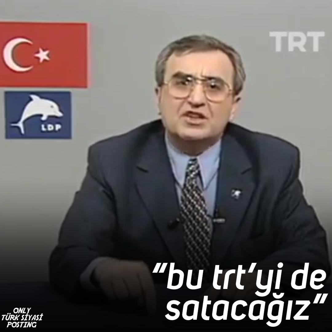 """only türk siyasi posting on Twitter: """"besim tibuk'un, 1999 yılında trt  ekranlarında propaganda konuşması yaparken verdiği trt'yi satma vaadi. """"bu  trt'yi de satacağız, bunu da bilin. trt'yi de!""""… https://t.co/B39tFyZQ3z"""""""
