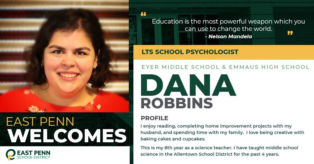 Welcome new @EHS_Hornets & @EPSDEyer school psychologist, Dana Robbins. We are #EastPennPROUD to have you!