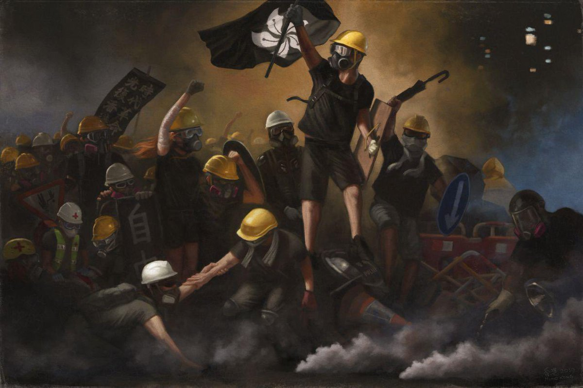 Love this! Hong Kong's very own version of Eugène Delacroix's 'Liberty Leading the People'. #HongKongProtests #AntiELABhk  #AntiELAB <br>http://pic.twitter.com/AtGqH0VjCz