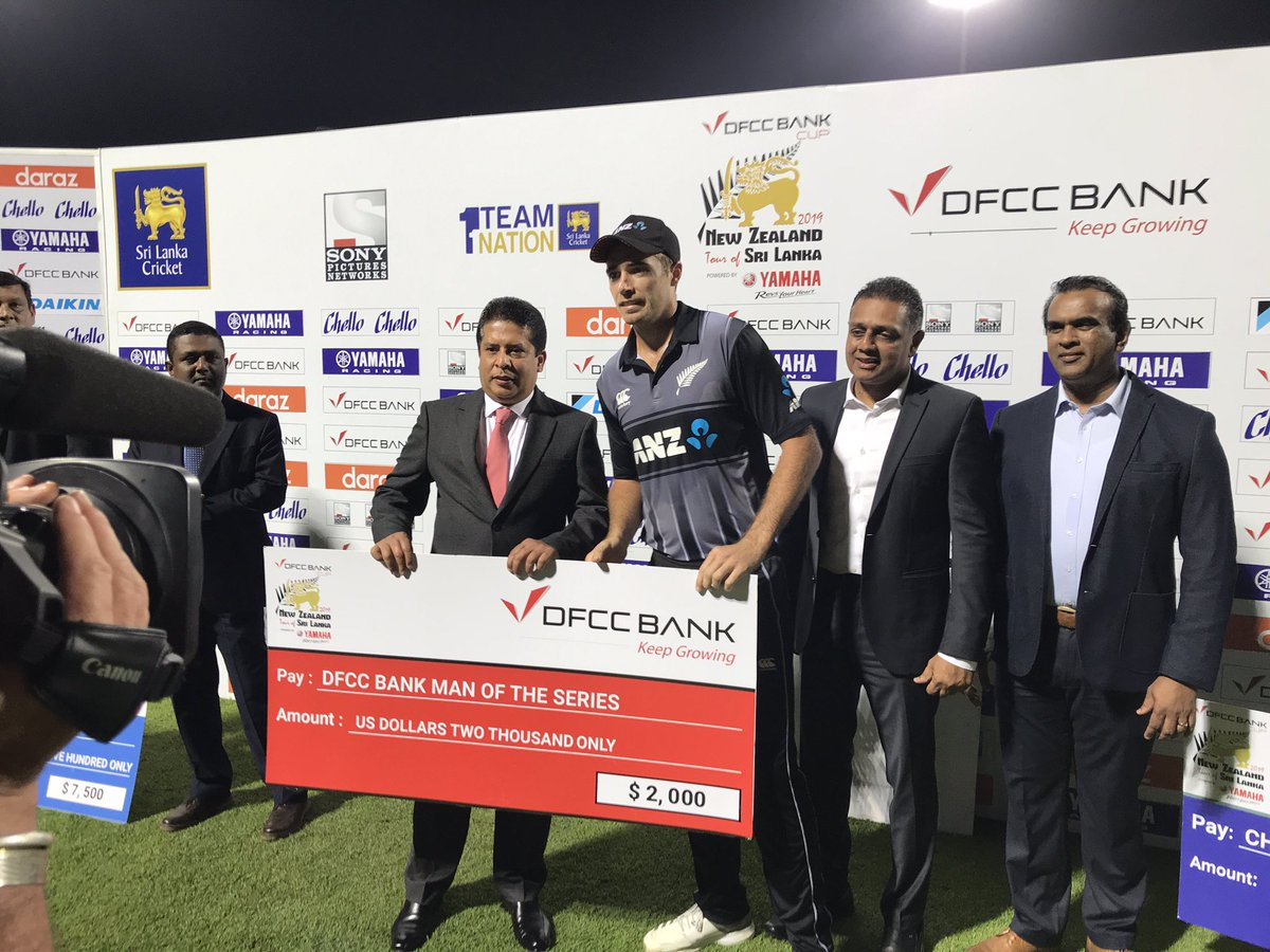 Despite tonight's loss, we've claimed the series 2-1, with Tim Southee named Player of the Series & Colin de Grandhomme the Powerful Player of the Series #SLvNZ <br>http://pic.twitter.com/RcrHJLRD7O
