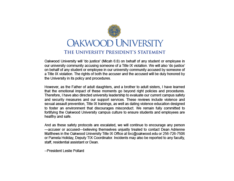 Oakwood University (@OakwoodU) | Twitter