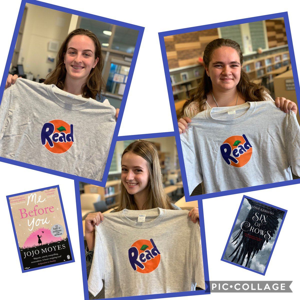 Some of our favorite readers - Sadie, Emma, and Lizzie - and some of their favorite books from their #summerreading.  #Jesuitreads #readingtshirts #highschoollibrary #librariesofinstagram @lizziedronkers  @jojomoyes @LBardugo @JesuitHighPDX https://t.co/70FkZlqSGE
