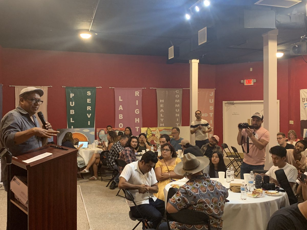 """""""A cage cannot hold an idea. A cage cannot hold our voices. A cage cannot hold our hopes of a liberated community."""" - Pablo Alvarado, Executive Director of @NDLON's opening remarks at our luncheon with #ElPasoFirme artists and families directly affected by the aug 3rd shooting. <br>http://pic.twitter.com/bskOghiHR0"""