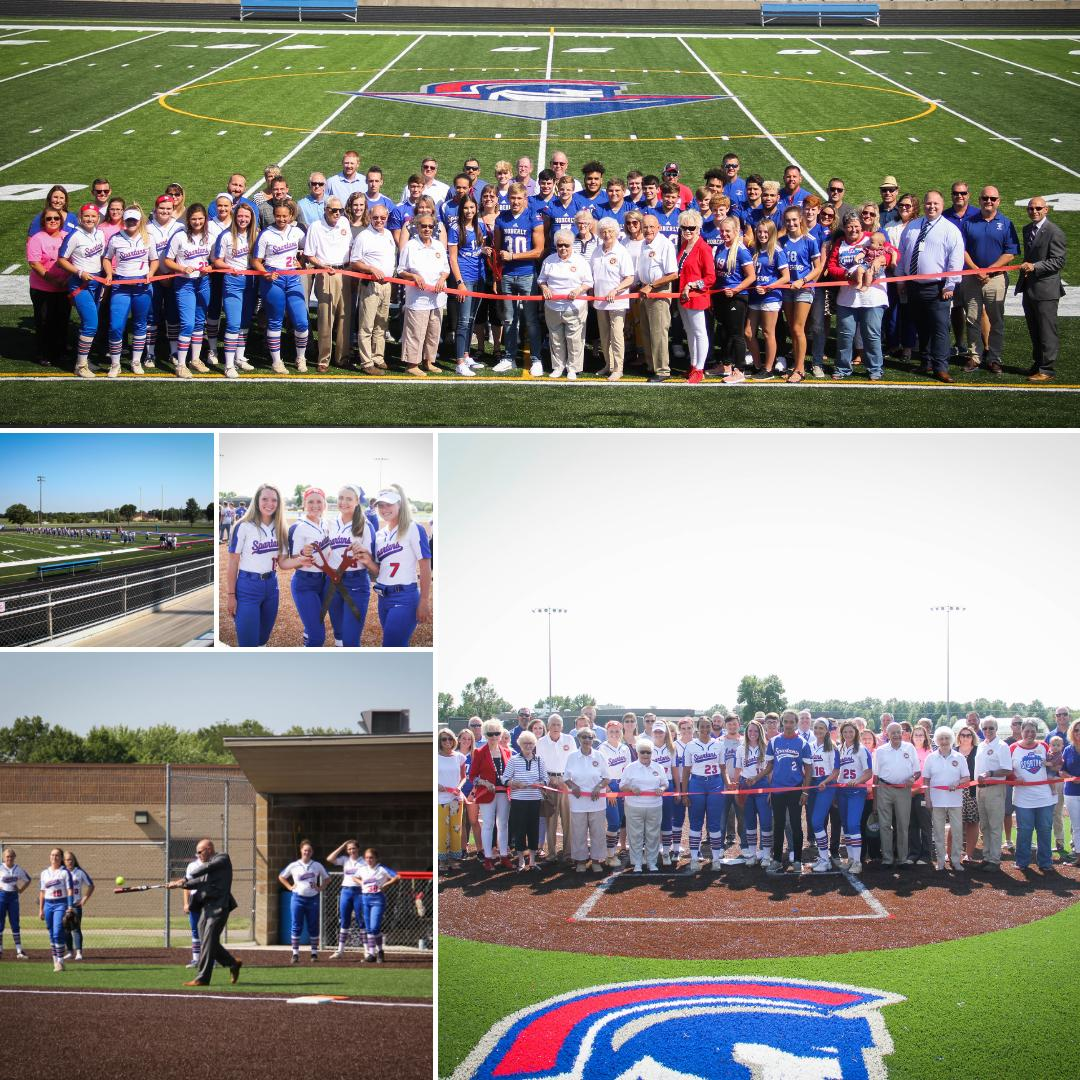 Image collage showing the ribbon cutting ceremony at the Dr. Larry K. Noel stadium and Bradley Field.