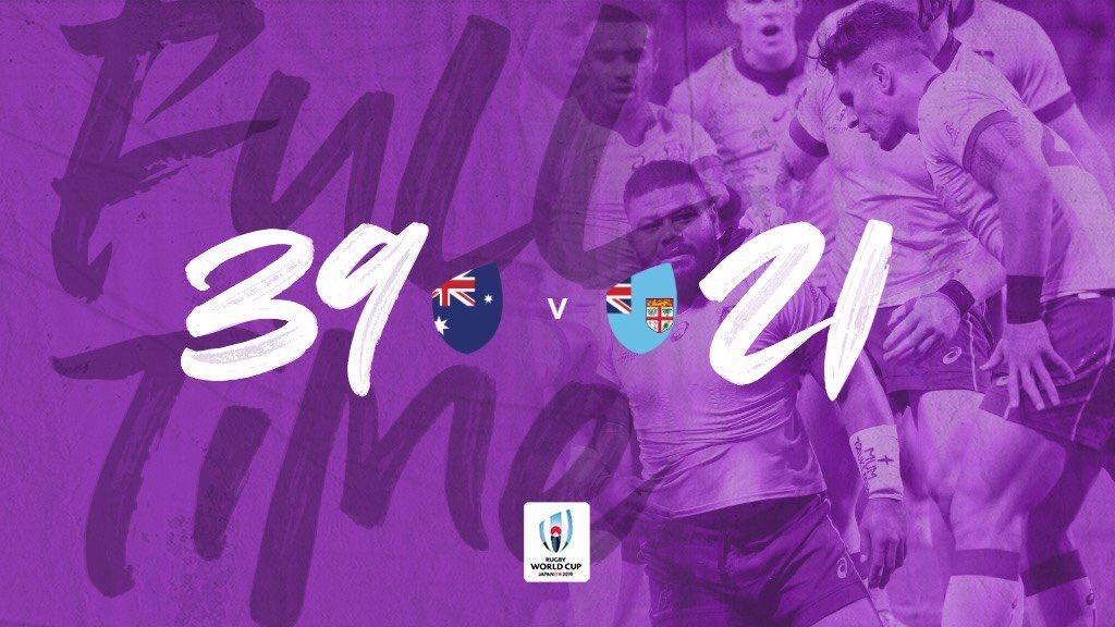 #RWC2019 | En la apertura del Grupo D que también integra @RugbyUruguay, Australia venció a Fiji 39-21 en Sapporo. #FIJvAUS #RWCSapporo #WebbEllisCup