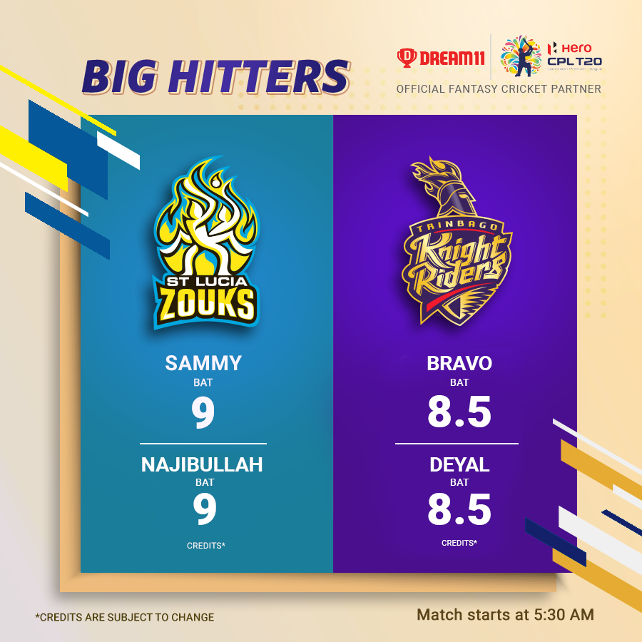 The @StLuciaStars challenge the @TKRiders this Saturday. Get your #Dream11 ready for this T20 game here - https://d11.co.in/CPL#CPL19 @CPL #SLZvTKR