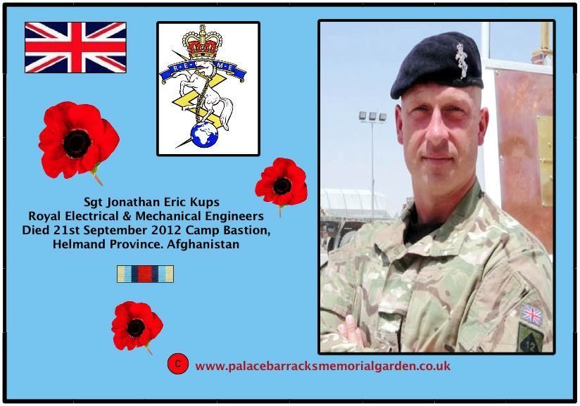 Today in 2012 Sergeant Jonathan Eric Kups, aged 38 from Nuneaton,and of the Royal Electrical and Mechanical Engineers, died in Camp Bastion, Helmand Province, Afghanistan Lest we Forget this man who gave his all 🏴🇬🇧