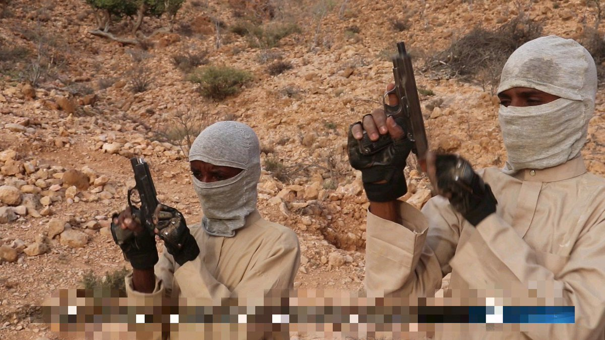 Interesting pictures from IS in #Somalia.Lots of T56/PK/Type 80, but the most interesting aspect is the pistols used- a Chinese CF-98, which has seen use in assassinations in the country, and what appears to be a Type 54-1 (TT33 derivative, also from China).