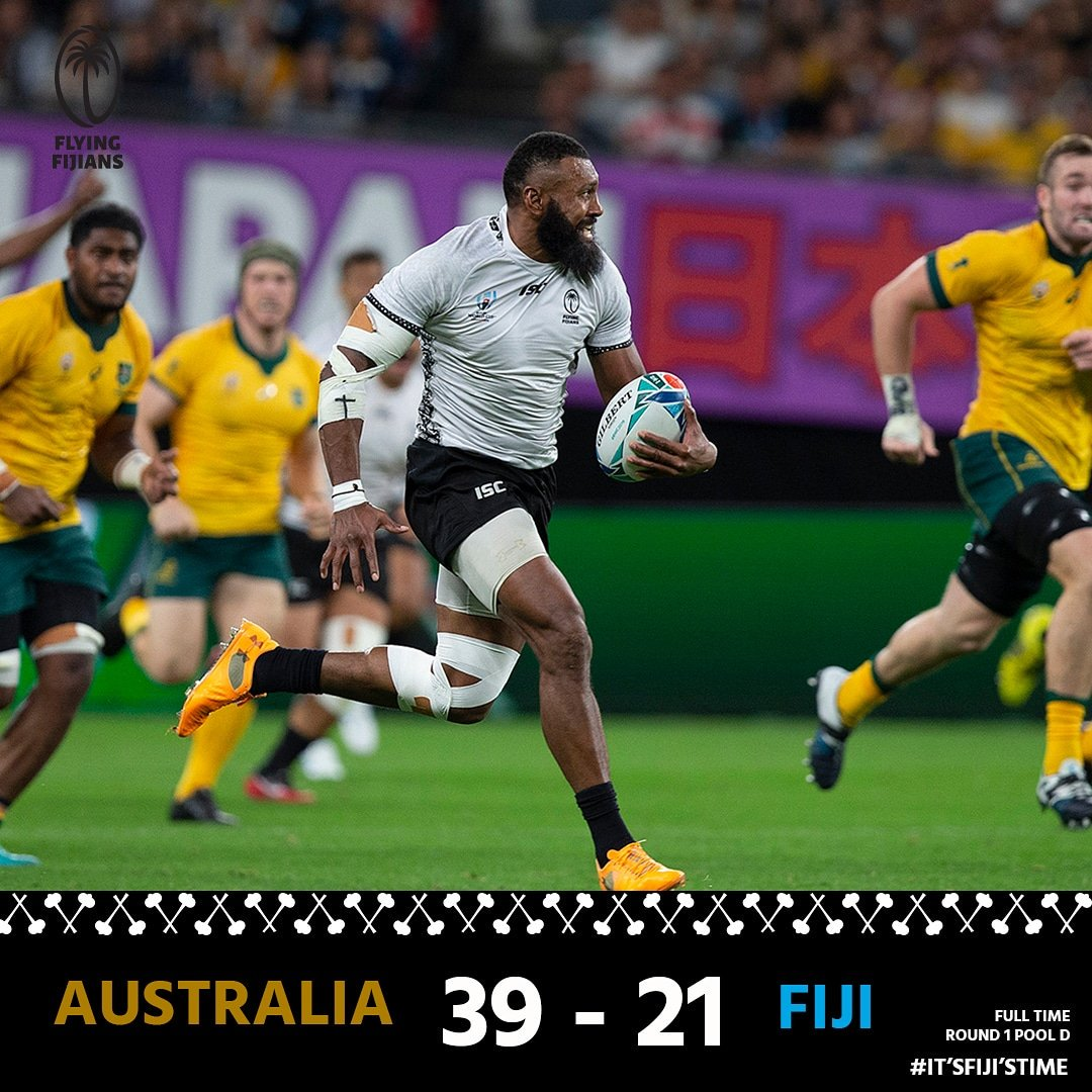 FULL TIME in Sapporo and what a start to the #RWC19 Our Flying Fijians put in a thrilling effort against a hard nosed Wallabies side, to go down 39 - 21. Sensational tries from Yato and Nayacalevu gave fans lots to cheer about. Next destination: Uruguay 🇺🇾 #ItsFijisTime