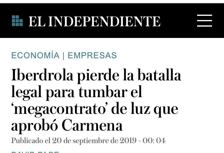 El equipo de @carlossmato plantó cara al oligopolio de Iberdrola desde el Aytto Madrid. Ahora finalmente el TSJM les da la razón 👉🏼 elindependiente.com/economia/2019/…. Pírrica victoria, visto lo sucedido desde entonces? O pasos adelante a pesar de todo? Enhorabuena @Elba_Celo @edugaresp...