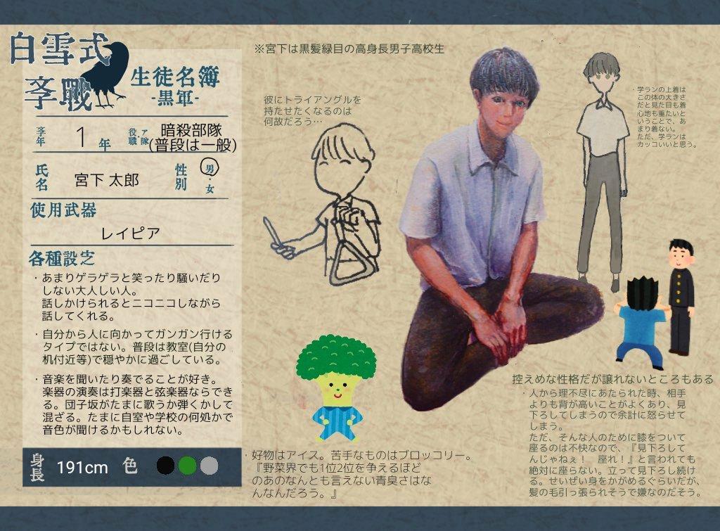 RT @sirayukigksn: -- 生徒ファイル      No.7 -- 黒軍   1年     宮下 太郎(@kudonodo)  #白雪式学戦_CS...