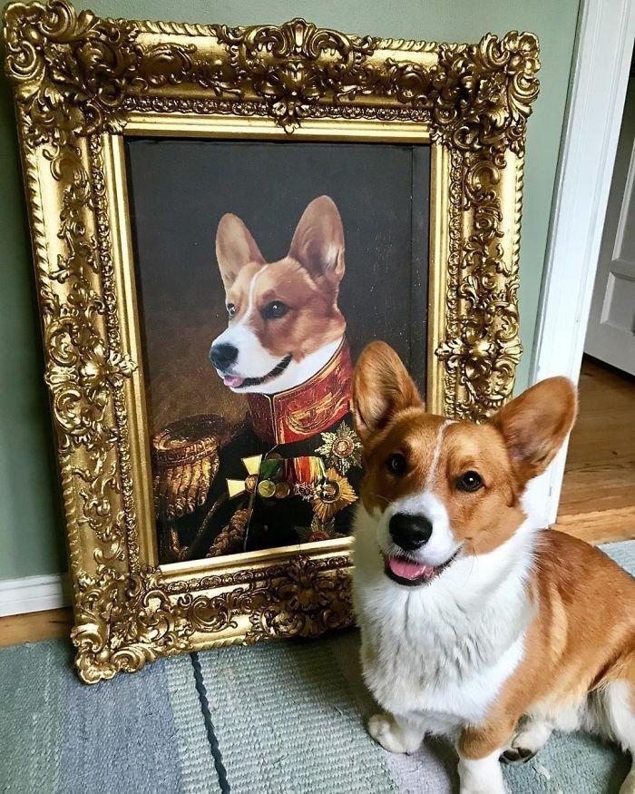 ペットの写真送ったらめっちゃ高貴に描いてくれる会社があった