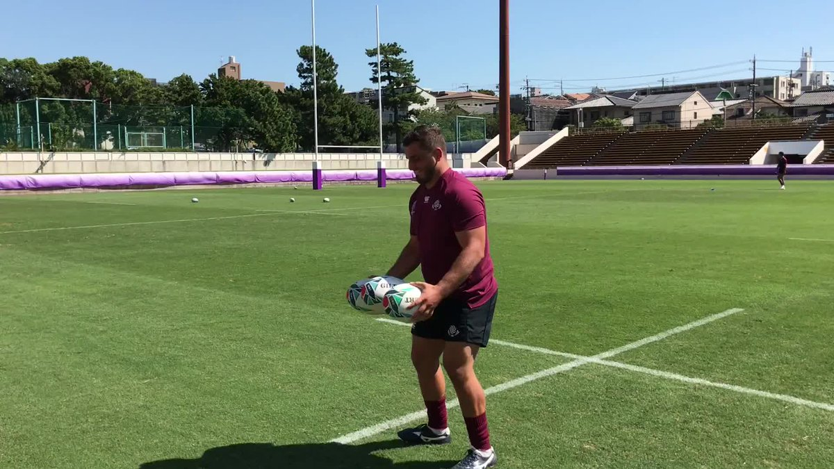 Three rugby balls. One @GeorgianRugby prop. Guram Gogichashvili. Its over to you. #RWC2019