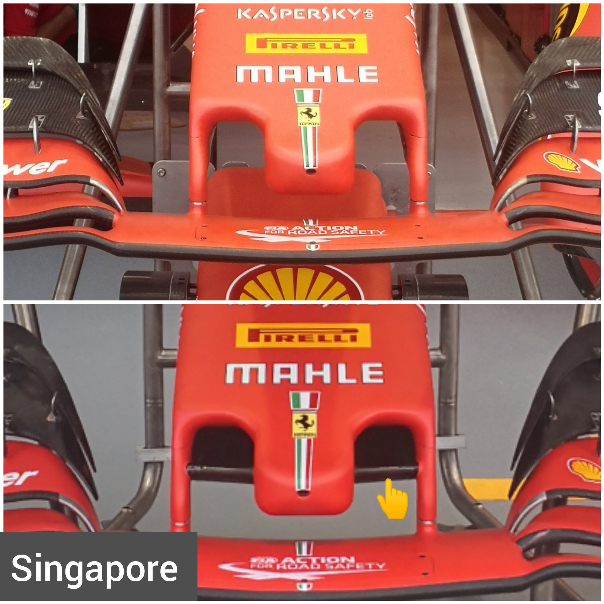 In Pictures The New Ferrari Nose With Cape As Part Of The New Aero Package For Singapore