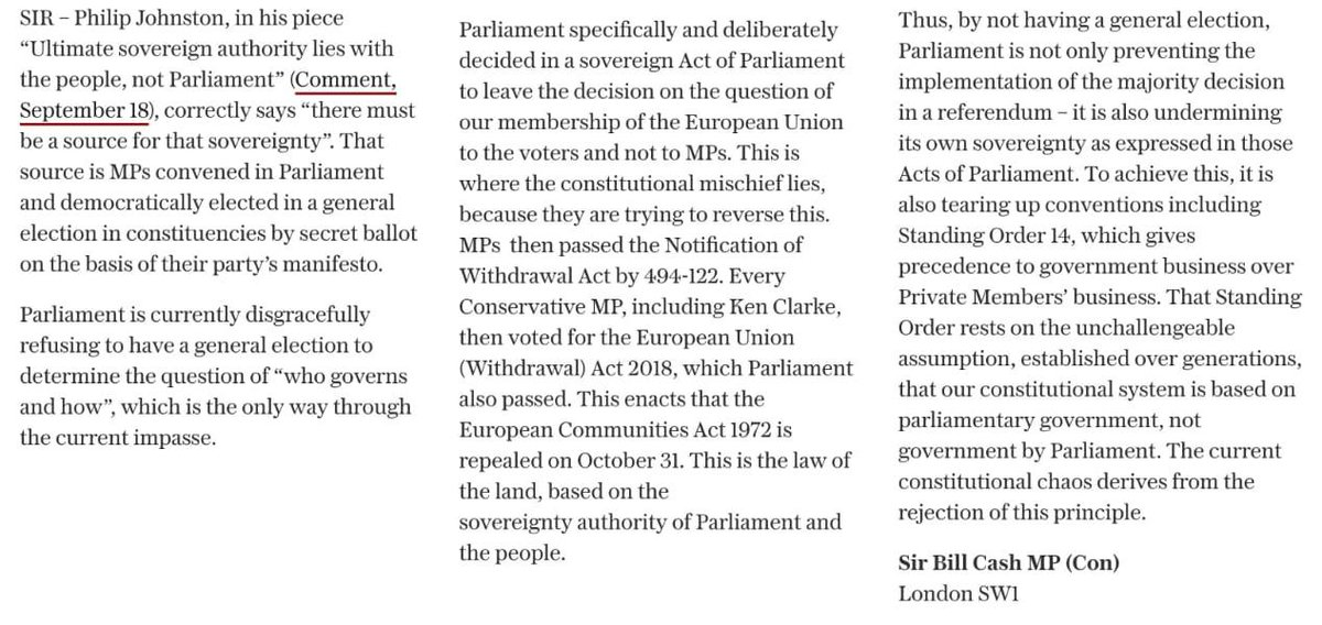 By not having a General Election, Parliament is undermining its own sovereignty - My letter in the Telegraph telegraph.co.uk/opinion/2019/0…