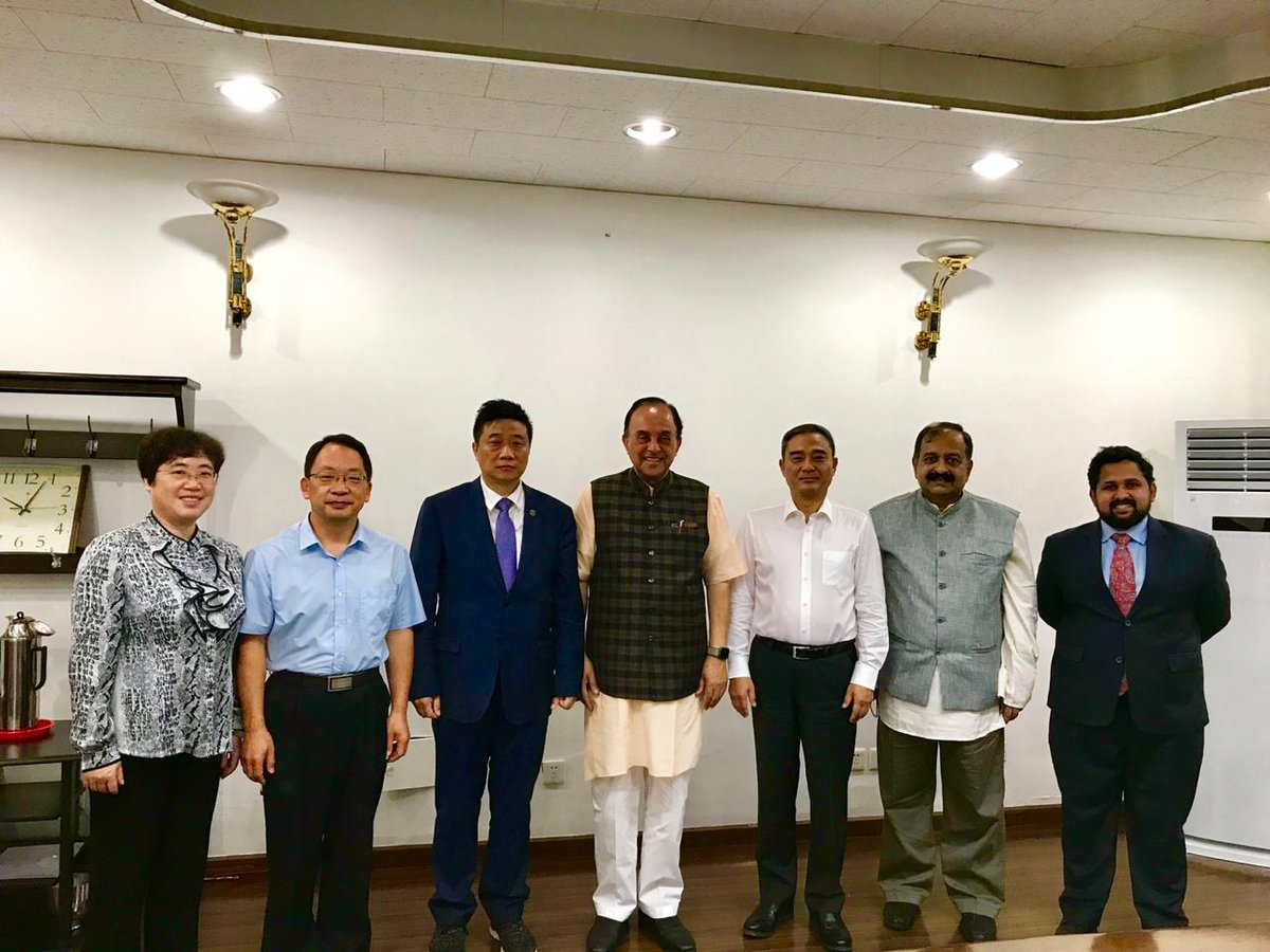 Dr Subramanian Swamy in interaction with Scholars & Professors Of Institute for International Strategic Studies Party School Of the Central Committee Of CPC ( CHINESE Academy Of Goverance) at Beijing wherein official from Indian Embassy too present. @Swamy39 @jagdishshetty