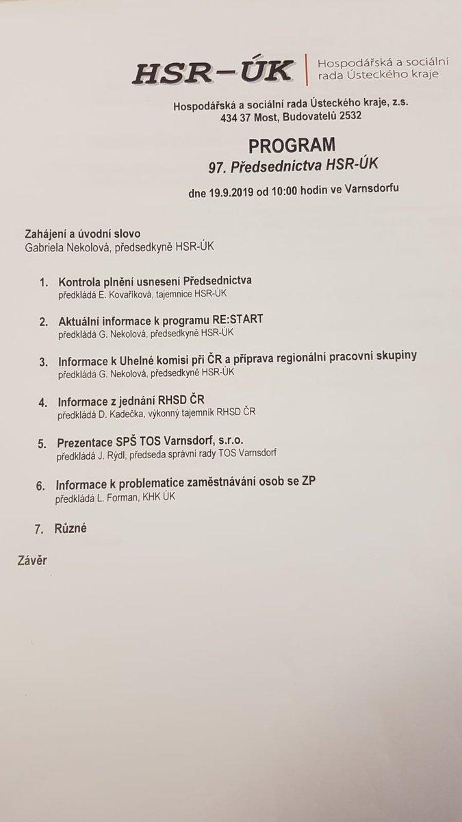 Ve Varnsdorfu dnes jedná Předsednictvo Hospodářské a sociální rady Ústeckého kraje. Jednání #tripartita řídí předsedkyně pí. Gabriela Nekolová. Sociální partneři řeší program pomoci regionům RE:START nebo Uhelnou komisi. Na programu je i prohlídka průmyslovky SPŠ TOS Varnsdorf.