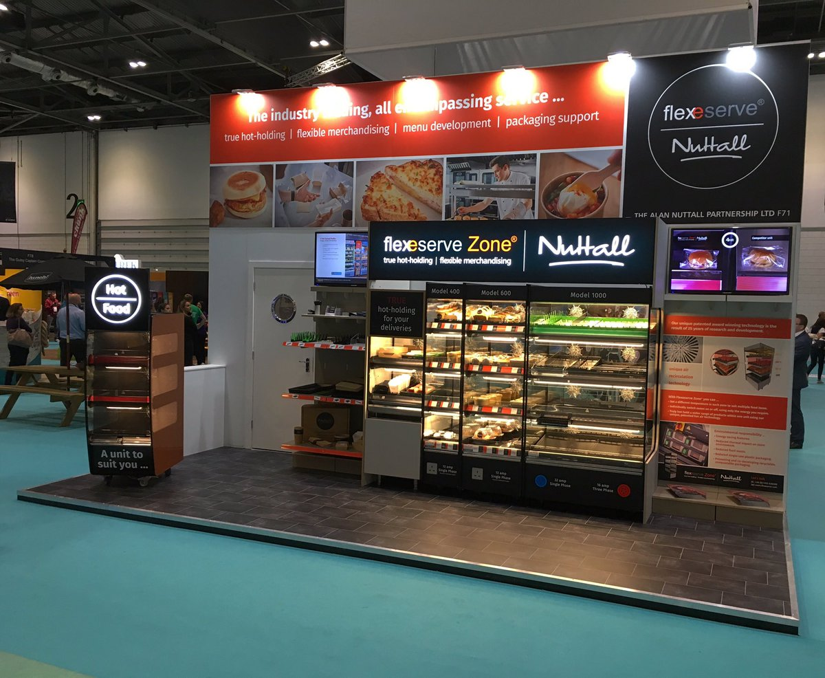 Open for business! The show is underway at @excellondon, How do we help you keep the moisture, crispness and crunch of your products? We're waiting to tell you all about it on stand F71 #flexeserve #lunch19 #hotfoodtogo #hotholding #innovation https://t.co/n2qVYedPtl