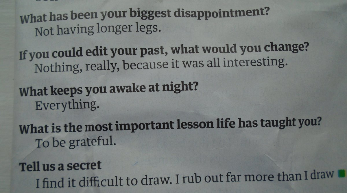 Just found Judith Kerrs final interview, from The Guardian. Apart from the first one, this could be me.