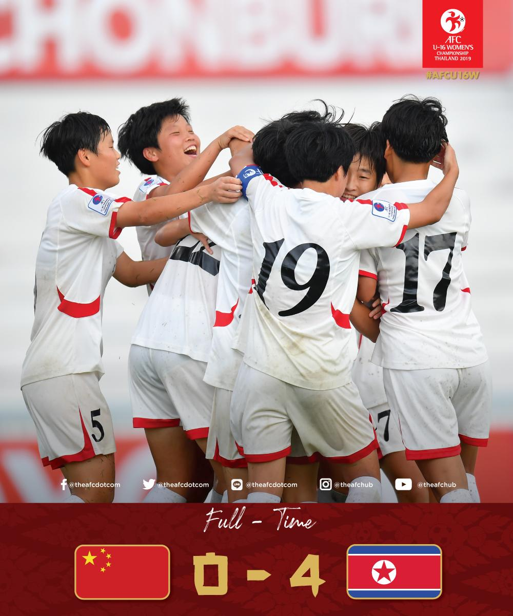 FT: CHN 🇨🇳 0 - 4 🇰🇵 PRKIt's the reigning champions who bag all three points after another convincing performance against China!#AFCU16W