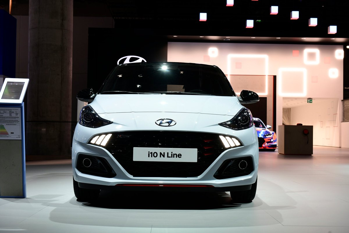 .@Hyundai_Global's brand new i10 N line at the Frankfurt Motor Show Comprises of a 1.0 3 cylinder, T-GDi engine that churns out a power of 98 bhp and a torque of 172 NmHere's a glimpse of how this car looks@HyundaiIndia #Hyundai #Frankfurt #MotorShow