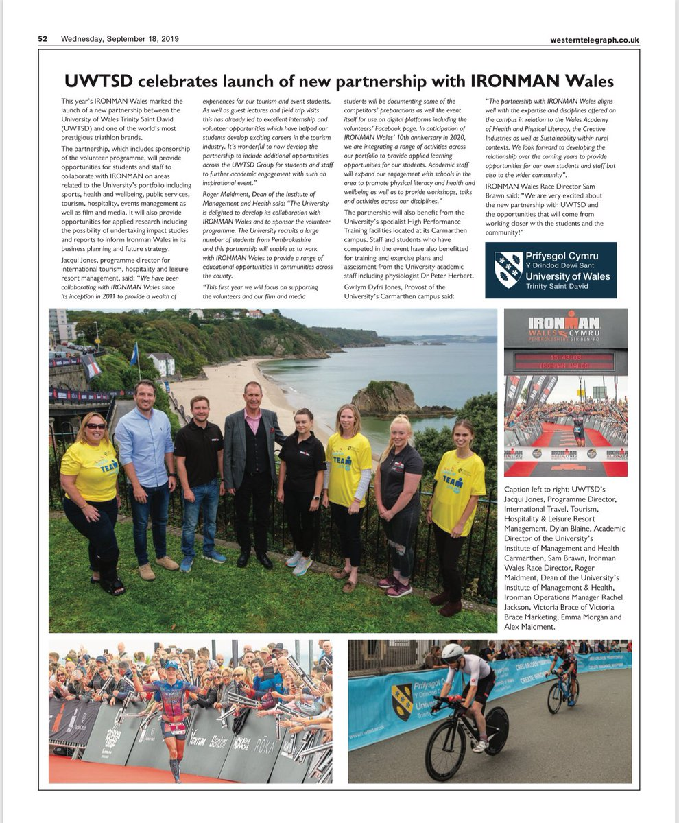 Proud to see our new partnership with @IRONMAN_Wales featured in the @WTelegraph's #IMWales supplement! @SBS_UWTSD @TSDSHOE @UWTSDsport @JacquiJonesJJ #collaboration #graduates #employability