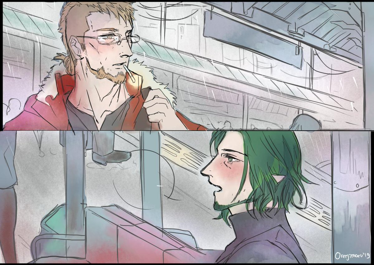 modern AU jetseth with the setting of this song https://t.co/1oM5T8Ddjv jhsgdjhsdfjhdsgf  i dont know how to colour today but i wanna draw cheesy jeralt and seteth  五輪 真弓 - 雨宿り #FireEmblemThreeHouses #fe3h