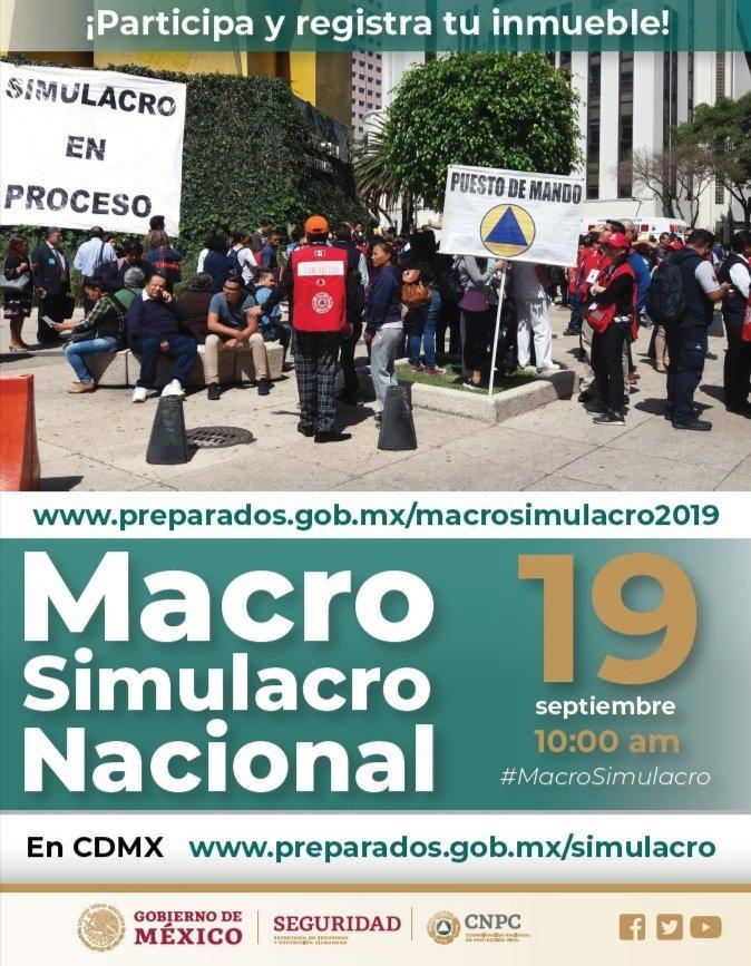 Hoy, #19DeSeptiembre, es el #DíaNacionalDeProtecciónCivil. 👷🏽♀👷🏽Súmate al #MacroSimulacro. Fomenta la cultura de la protección civil.