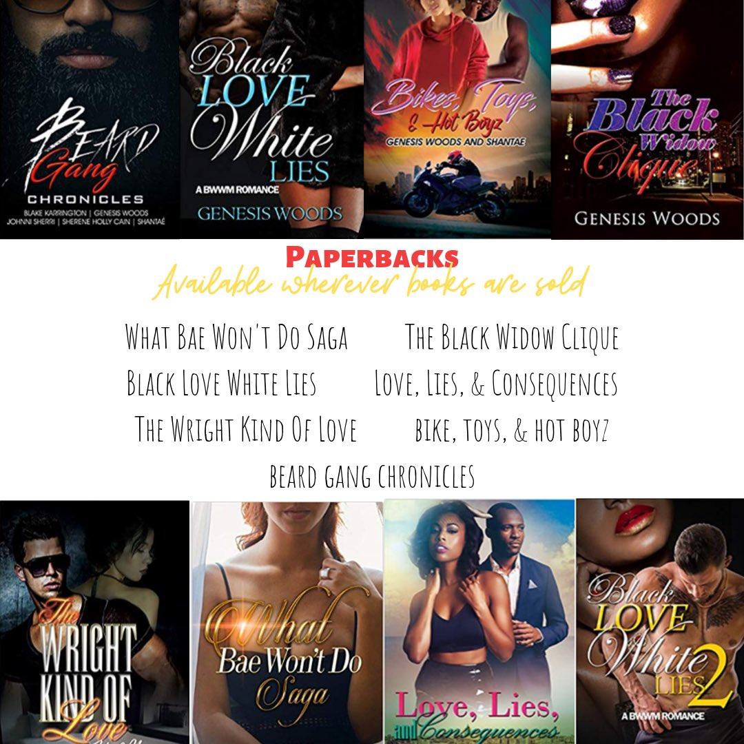 My paperbacks are available nationwide wherever books are sold... #walmart #target #booksamillion #barnesandnoble #yourlocallibrary #audiobooks #iamgenesiswoods #checkmeout #iwritebooks #blackfirlswrite #bbwstories