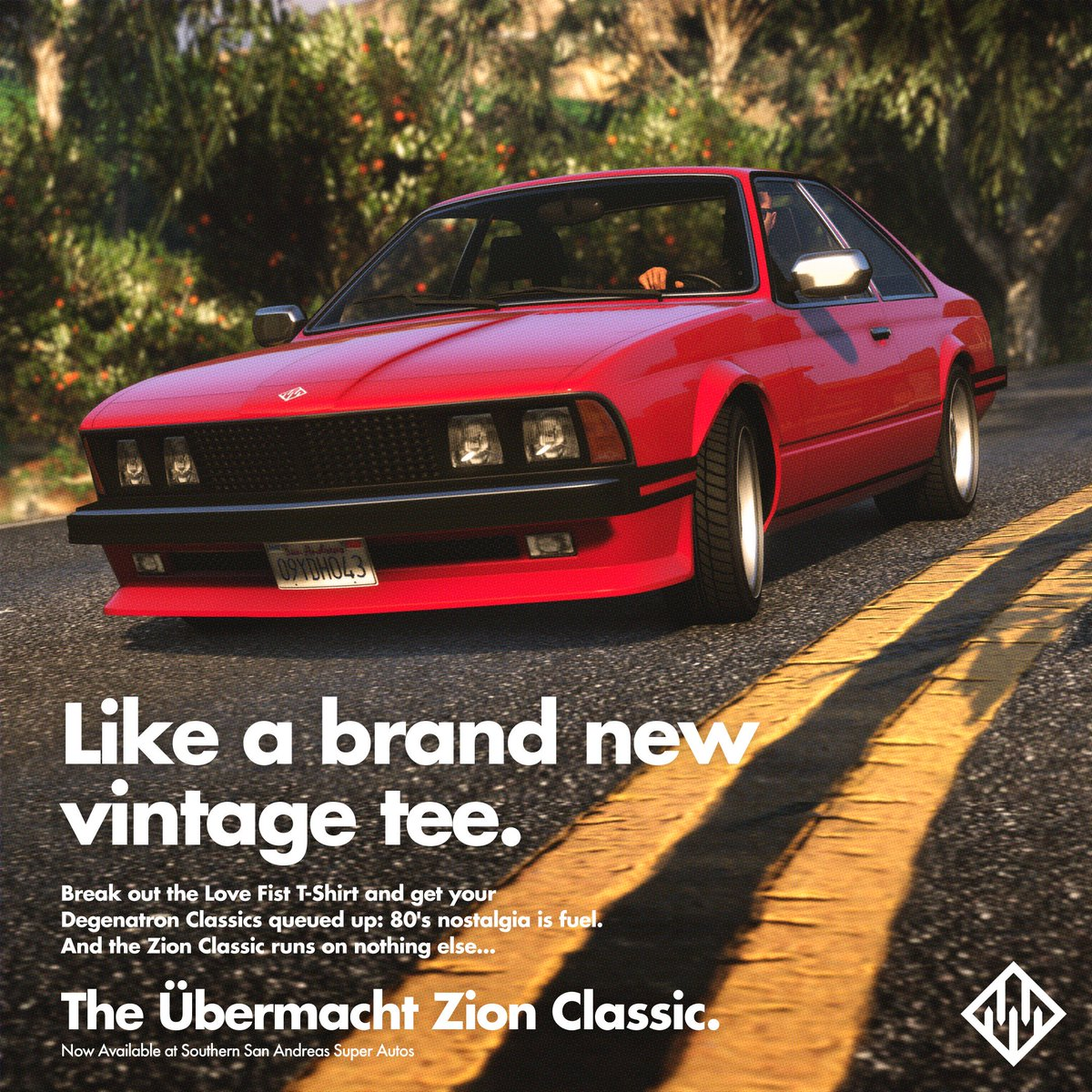80's nostalgia is one hell of a fuel, and the Zion Classic from Übermacht runs on nothing else.Pick up the Übermacht Zion Classic today at Southern San Andreas Super Autos in GTA Online.http://rsg.ms/b213fa2