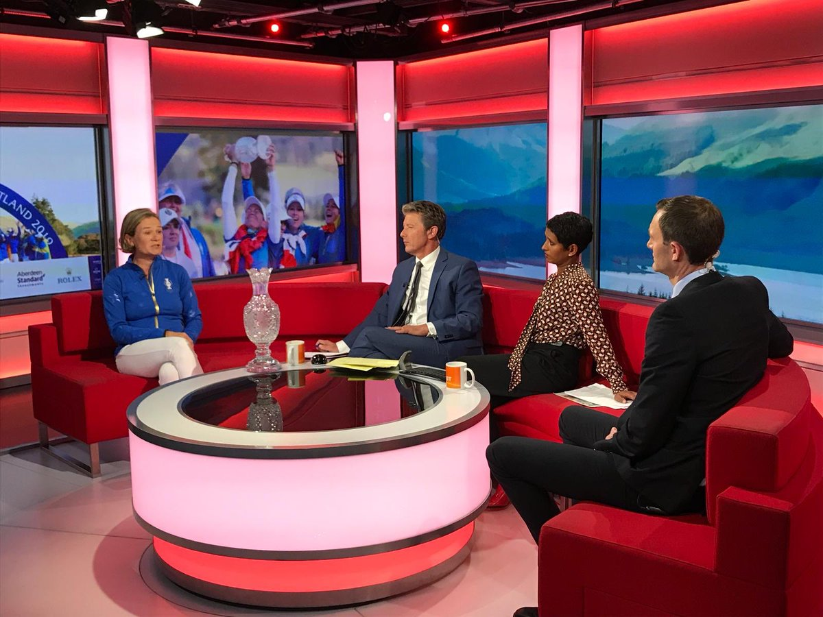 Great to see the winning @SolheimCupEuro captain @Beany25 on @BBCBreakfast this morning reflecting on an incredible @2019solheimcup played by two exceptional teams 🏆🇪🇺🇺🇸👏🏻  #SolheimCup2019