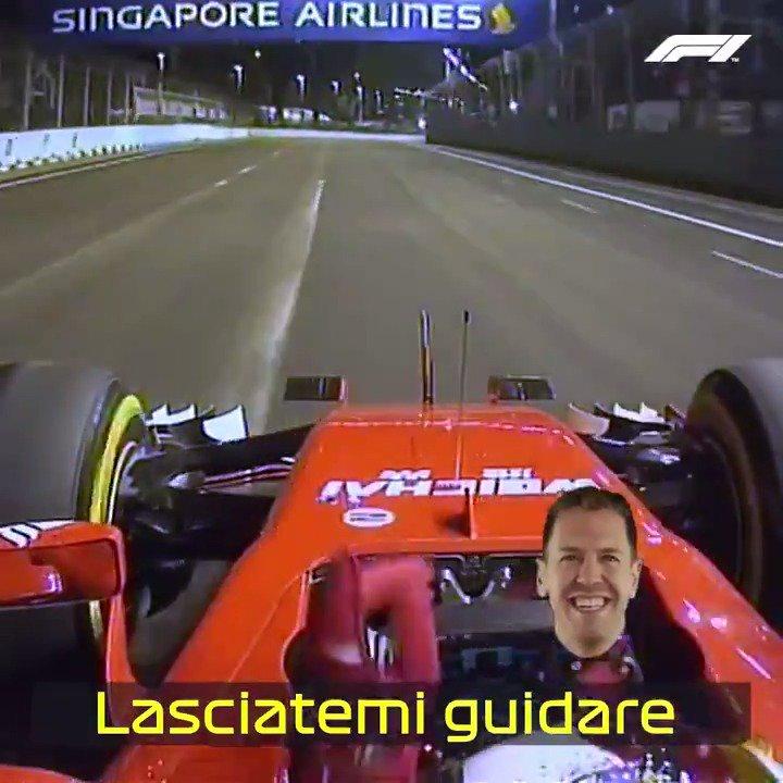 Seb's singing 😂🕺  #OnThisDay in 2015, Sebastian Vettel won the Singapore Grand Prix ✨  #F1   https://t.co/GAiLDckWzC