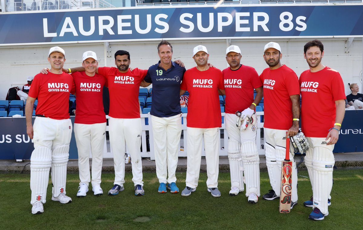 Great to have our Global Partner @MUFGEMEA with us for the #LaureusSuper8s. Thanks for the support! 🏏#SportforGood
