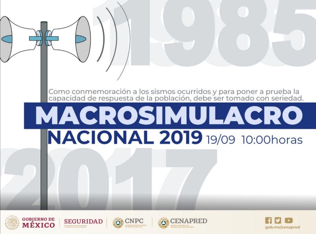 #Recuerda. A las 10 a.m. se activará la #AlertaSísmica en #CDMX y #EdoMex.Participa en el #MacroSimulacro.#DíaNacionalDeProtecciónCivil. 👷🏽♀️👷🏽♂️