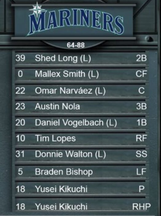 Early start for M's-Pirates today. Day off for Kyle Lewis and Kyle Seager.
