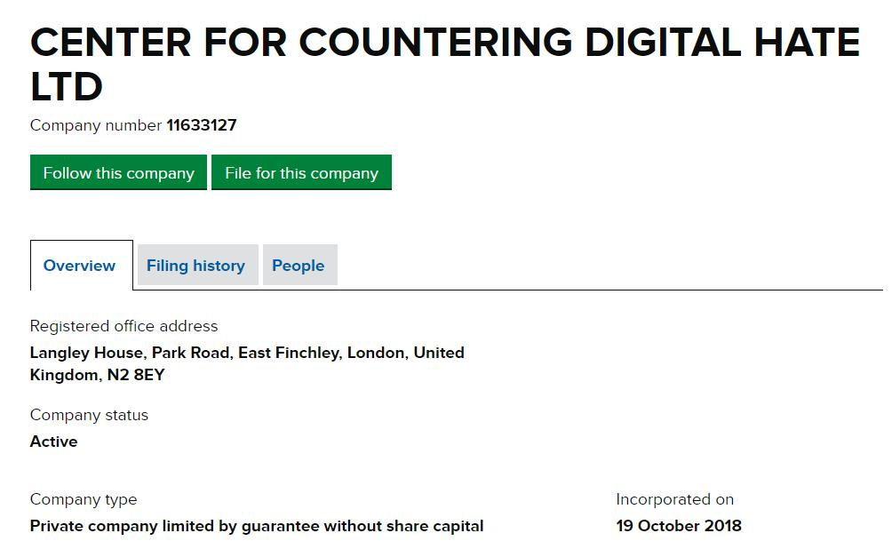 hang on. what was BRIXTON ENDEAVOURS LIMITED, which changed its name to Centre for Countering Digital Hate in August 2019?