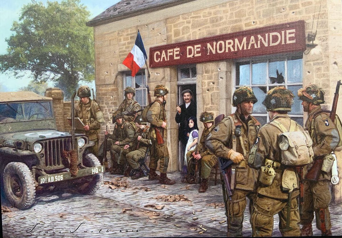 This oil painting captures the joy of the French citizens as town after town in #Normandy was liberated starting on June 6, 1944. Members of the 82nd Airborne cleared the town by sunrise. God Bless them! #ww2history #army #WW2 #worldwarIIhistory #82ndairborne #WWII #Dday #WW2art